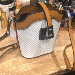 Bags - BNWT white basketweave and camel crossbody bag